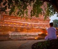 Buddist activity in Visakha Bucha day Stock Photos