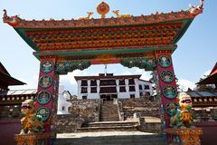 Buddist gate. Entry gate to the Tengboche Monastery in the Everest region of Nepal Stock Photography