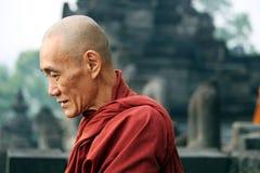 Buddist munk Indonesia Arkivbilder