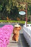 Buddist munk som är walkin i buddisttempel för Fo Guang Shan av Taiwan Royaltyfri Foto
