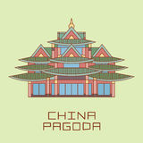Buddist Pagoda white line drawn vector illustration Stock Photography