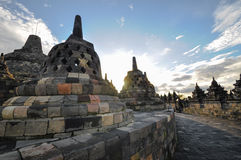 Buddist temple Borobudur heritage complex in Yogjakarta in Java Royalty Free Stock Images