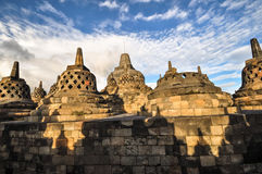 Buddist temple Borobudur Stupa complex in Yogjakarta in Java Royalty Free Stock Images