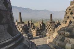 Buddist temple Borobudur on sunset background. Yogyakarta. Java, Royalty Free Stock Photos