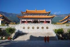 Buddist temple life. A Chinese buddist temple and monks,Chong sheng Buddhist Temple,Dali,Yunnan,China Royalty Free Stock Images