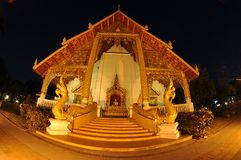Buddist temple in Thailand. Thai temple outdoor with night scene Royalty Free Stock Images