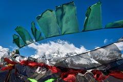 buddisten flags bönen arkivbilder