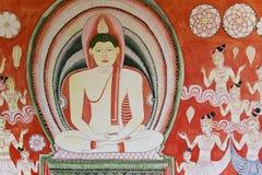 buddistisk guld- vägg för tempel för lankamålningssri Royaltyfri Foto