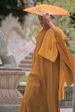 Buddistisk munk, Cambodja Arkivfoto