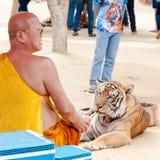Buddistisk munk med en bengal tiger på Tiger Temple i Kanchanaburi, Thailand Fotografering för Bildbyråer