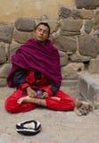 Buddistisk munk med hunden Royaltyfria Foton