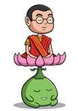 Buddistisk munk som mediterar med lotusblommavarelsen Arkivfoton
