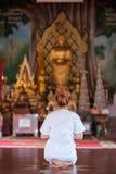 Buddistisk nunnameditation på templet av Thailand Royaltyfri Foto