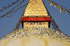 Buddistisk relikskrin Boudhanath Stupa Royaltyfria Bilder