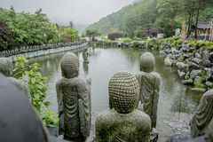 Buddistisk sten i templet Royaltyfria Foton