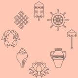 Buddistisk symbolism, de 8 lovande symbolerna av buddism, Rätt-rullad ihop vit trumpetsnäcka, dyrbart paraply, Victory Banner, gu Royaltyfria Bilder