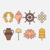 Buddistisk symbolism, de 8 lovande symbolerna av buddism, Rätt-rullad ihop vit trumpetsnäcka, dyrbart paraply, Victory Banner, gu Royaltyfri Fotografi