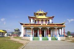 Buddistisk tempel i Ivolginskyen som ?r datsan n?ra Ulan-Ude Buryatia Ryssland fotografering för bildbyråer