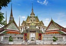 Buddistisk tempel, Wat Pho tempel i Bangkok, för gränsmärke och för nr. 1 turist- dragningar i Thailand. Royaltyfria Bilder