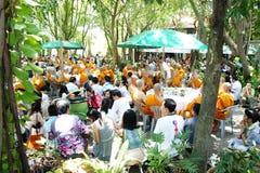 buddistisk thai ceremoniprästvigning Arkivfoto