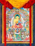 Buddistisk thangka, tibetan buddistisk målning på bomull eller silke a Arkivbilder