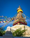 Buddistiska Boudhanath Stupa. Nepal Kathmandu Royaltyfri Fotografi