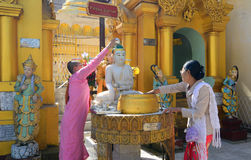 Buddistiska fantaster som badar Buddhastatyer på den Shwedagon pagoden royaltyfri foto