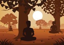Buddistiska kvinnor och män betalar drevmeditation för att komma till fred, och ut ur lida under trädet royaltyfri illustrationer