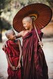 buddistiska monks vänner royaltyfri foto