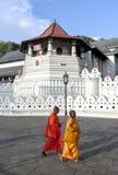 Buddistiska munkar går förbi templet av den sakrala tandreliken i Kandy i Sri Lanka Arkivbild