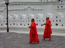 Buddistiska munkar i ljus orange ämbetsdräkt royaltyfria foton