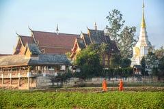 Buddistiska munkar som får den tillbaka templet royaltyfri bild