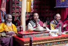 Buddistiska munkar, Tibet, Kina Fotografering för Bildbyråer