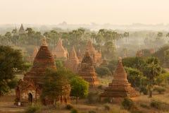Buddistiska tempel i Bagan på solnedgången, Myanmar Royaltyfri Foto