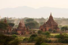 Buddistiska tempel i Bagan på solnedgången, Myanmar Arkivbilder