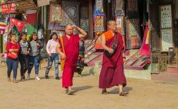 Buddistiska unga munkar i Nepal tempelkloster royaltyfri fotografi