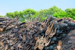 Buddistiska vägg- Lingshan Arkivfoton