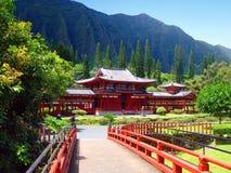 buddistiskt hawaii oahu tempel Arkivbilder