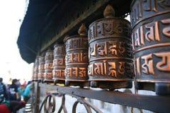 buddistiskt hjul för bönstupaswayambhunath royaltyfri bild