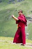 buddistiskt ta för exponeringsglasmonkfoto Arkivfoton