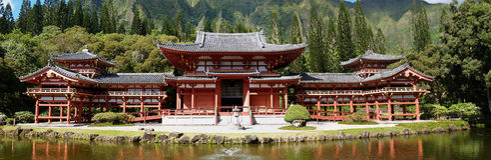 buddistiskt ursnyggt hawaii panorama- tempel royaltyfria foton