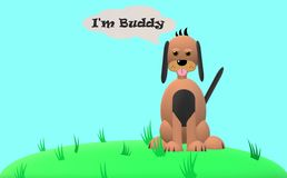 Buddy, the dog in the grass with blue background. Buddy is a dog, who is sitting in the grass. The background is only blue vector illustration