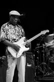 Buddy Guy. Legendary Blues musician Buddy Guy performing at a music concert in black and white royalty free stock photography