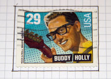 Buddy Holly. Vintage stamp with Buddy Holly stock image