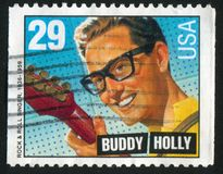 Buddy Holly. UNITED STATES - CIRCA 1993: stamp printed by United states, shows Buddy Holly, circa 1993 royalty free stock images