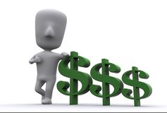 Buddy With Money. A 3D illustration showing close relationship of man with his money royalty free illustration