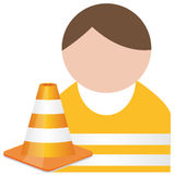 Buddy in orange  safety vest with traffic cone Royalty Free Stock Photo
