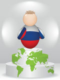 Buddy on podium. Russian buddy on global podium Royalty Free Stock Photos