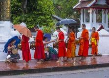 Buddyjscy datki daje ceremonii w Luang Prabang Laos zdjęcie stock