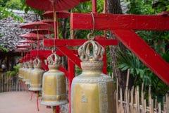 Buddyjscy dzwony w świątyni, Chiang Mai Fotografia Stock